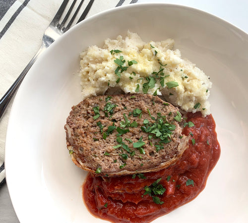 Bacon-Wrapped Meatloaf with Loaded Cauliflower Mash