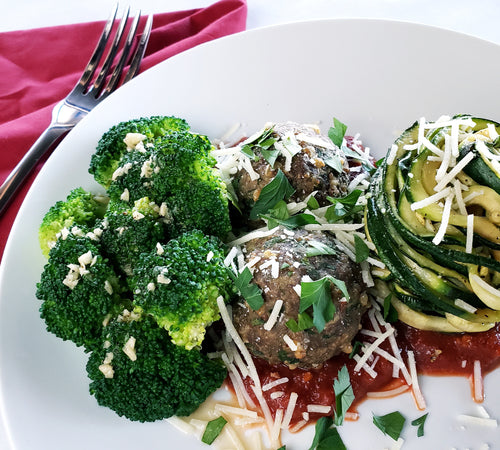 Spaghetti Zoodles & Bison Meatballs with Garlic Lemon Broccoli