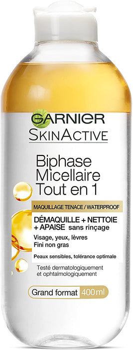 Solution Micellaire tout en un - Skin Active Biphase Micellaire- Maquillage Tenace / Waterproof 400ml - Cosmetique.sn
