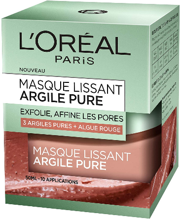 Masque lissant visage - Argile pure + Algue rouge - Exfolie & Affine les pores - 50ml