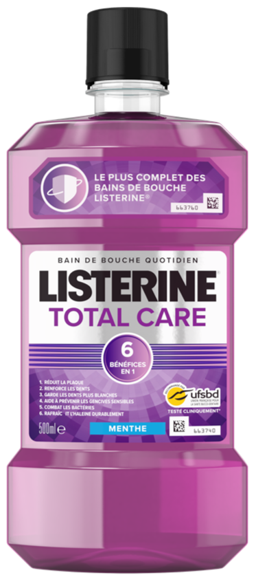 Listerine Bain De Bouche Total Care 6 En 1 - 500 ml - Cosmetique.sn