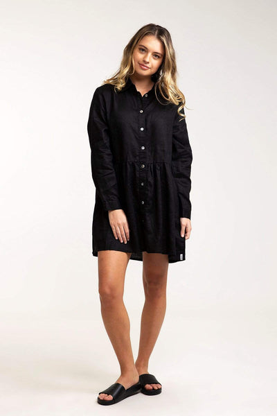 Pacific Long Slv Linen Shirt Dress Black