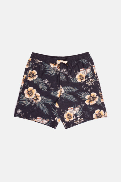 ALOHA FLORAL BEACH SHORT VINTAGE BLACK
