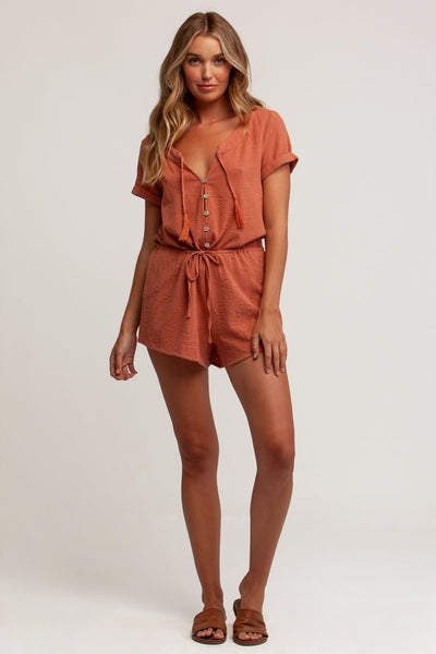 Ella Button Front Romper Toffee