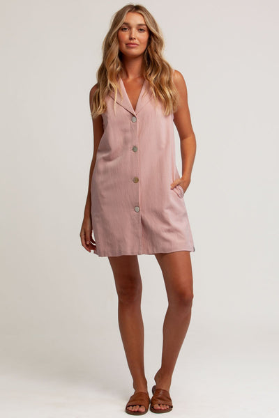 Heidi Sleeveless Shirt Dress Rose