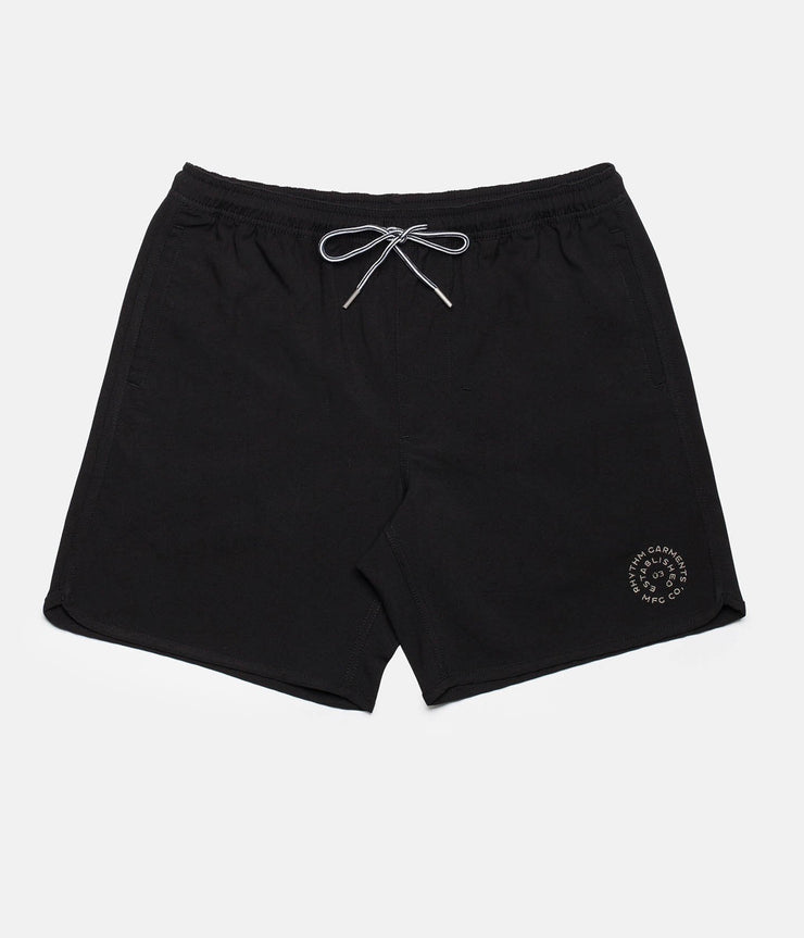 RHYTHM BLACK LABEL BEACH SHORT BLACK FRONT