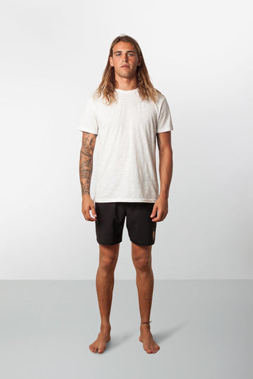 RHYTHM BLACK LABEL BEACH SHORT BLACK MODEL FRONT