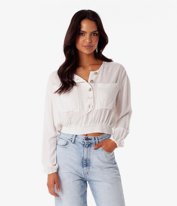 STELLA LONG SLEEVE TOP WHITE