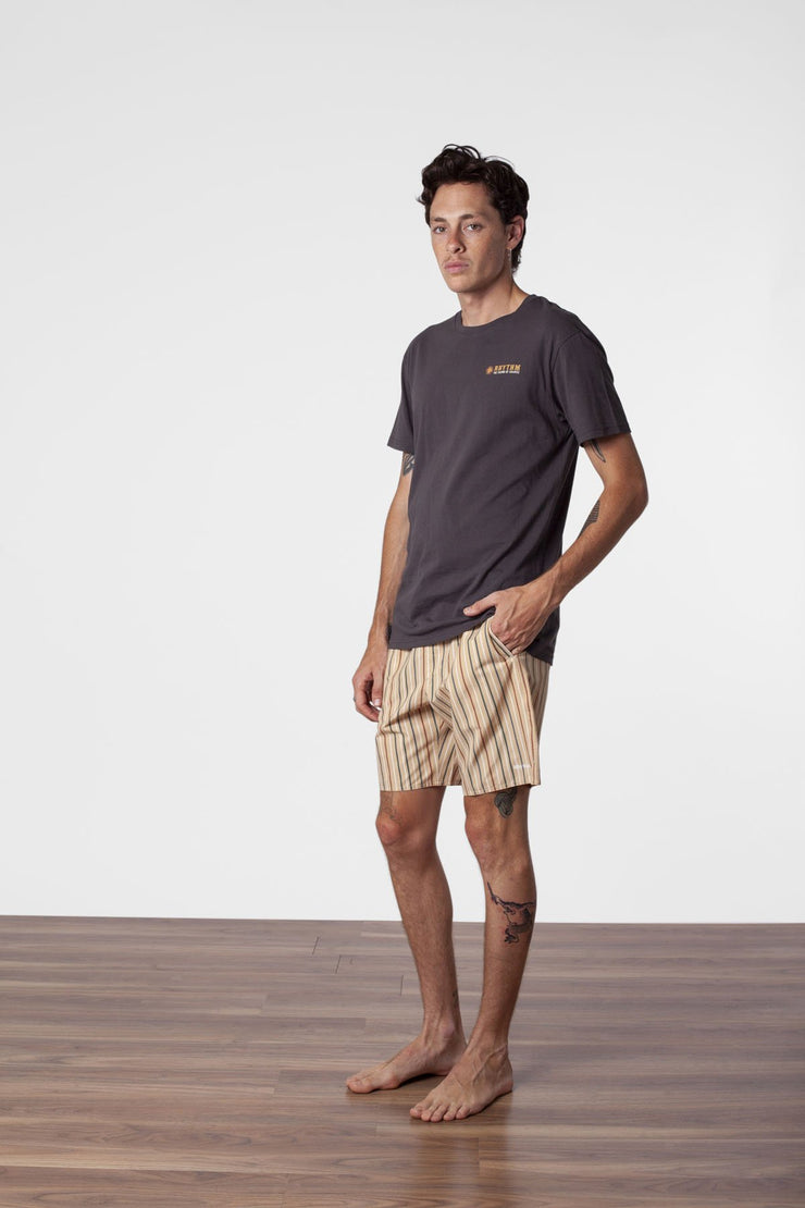 CUBA STRIPE BEACH SHORT VINTAGE GOLD