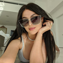 sssniperwolf wearing the 001 clear crystal and grey gradient