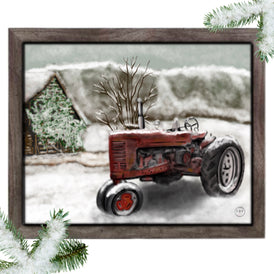 Down Home Winter Tractor Print