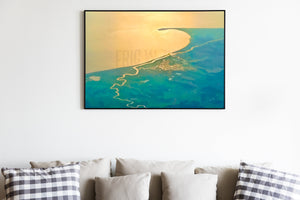 Cape Henlopen Delaware Sunrise Photography, Aerial Photography, Blue Green Cream Art, Fine Art Photo, Lewes,