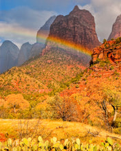 Load image into Gallery viewer, Rainbow Photography In Zion National Park Utah, Desert Art, South West Photography, Utah Photography, Desert Photography, Rainbow Art