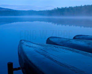 Maine Woods, Blue Wall Art, Canoe Art, Misty Lake, Dreamy Lake Photograph, North Woods Baxter State Park Fine Art Photograph,  Print