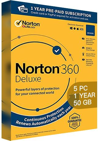 Norton 360 Deluxe - 5 PCs - 1 Year - 50GB Cloud Storage