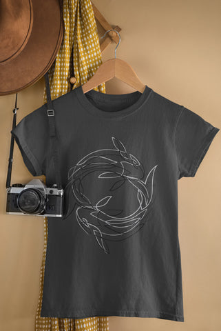 Line Fishes - Black & Grey - Ladies Crew Neck