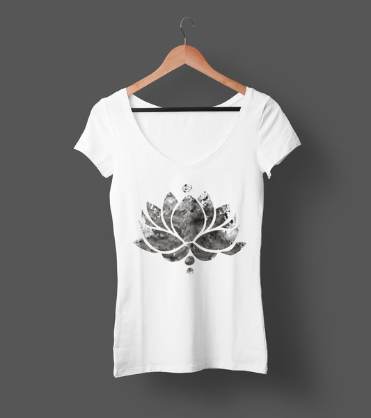 Black Ink Lotus Flower - Ladies V-Neck Tee