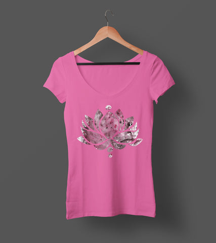 Red Ink Lotus Flower - Ladies V-Neck Tee