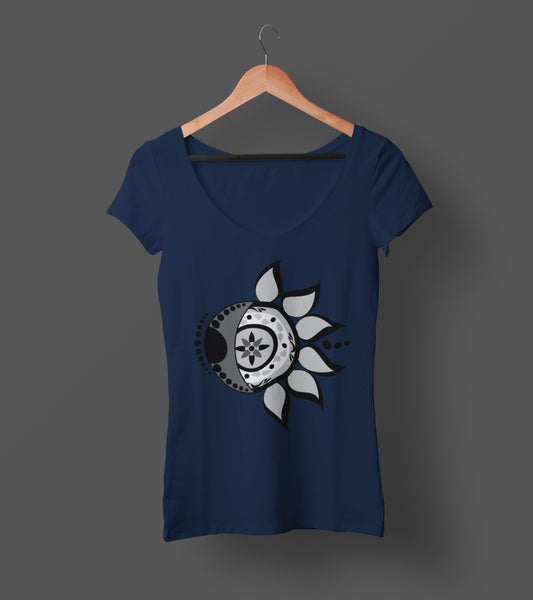 """Live by the Sun, Love by the Moon"" - Ladies V-Neck Tee"