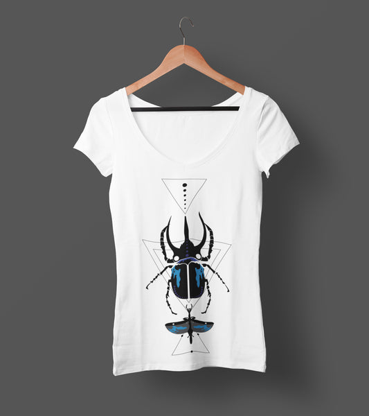 Bohemian Blue Beetle V-Neck Ladies Tee