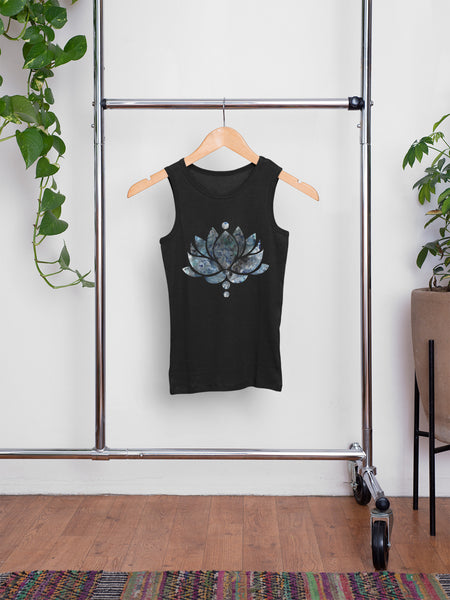 Blue/Black Ink Lotus Flower - Men's Summer Vest