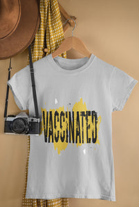 Vaccinated - Ladies Summer Tee-Black on Yellow