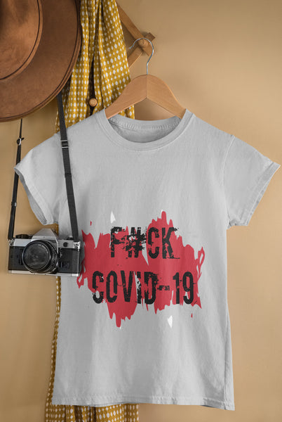 F#ck Covid-19 Ladies Casual Summer Tee-Black on Red
