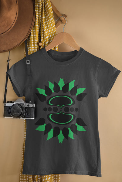 Tribal Sunflower - Black & Green - Ladies Crew Neck Tee