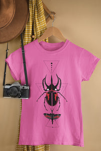 Bohemian Red Beetle-Ladies Summer Crew T-Shirt