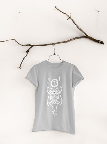 White Egyptian Scarab - Unisex Crew Neck Tee