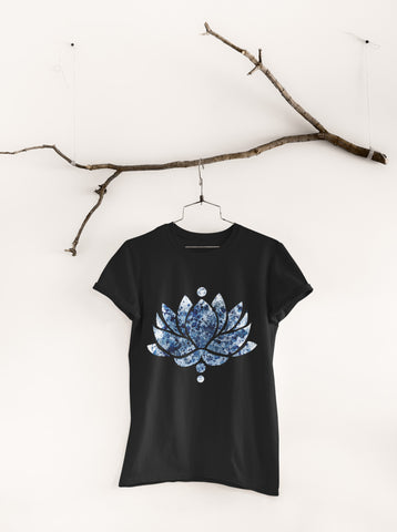 Blue Ink Lotus Flower - Unisex Crew Neck Tee