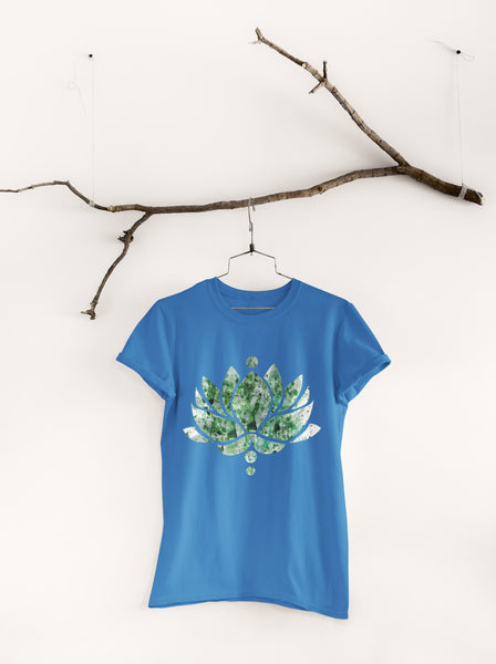 Green Ink Lotus Flower - Unisex Crew Neck Tee
