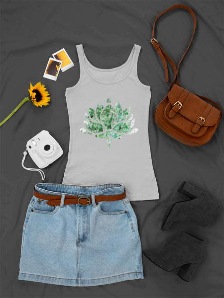 Green Ink Lotus Flower - Ladies Tank Top