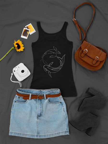 Line Fishes - Black & Grey - Ladies Tank Top