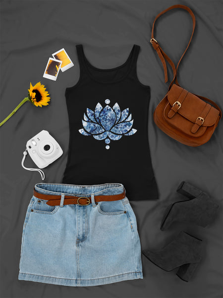 Blue Ink Lotus Flower - Ladies Tank Top