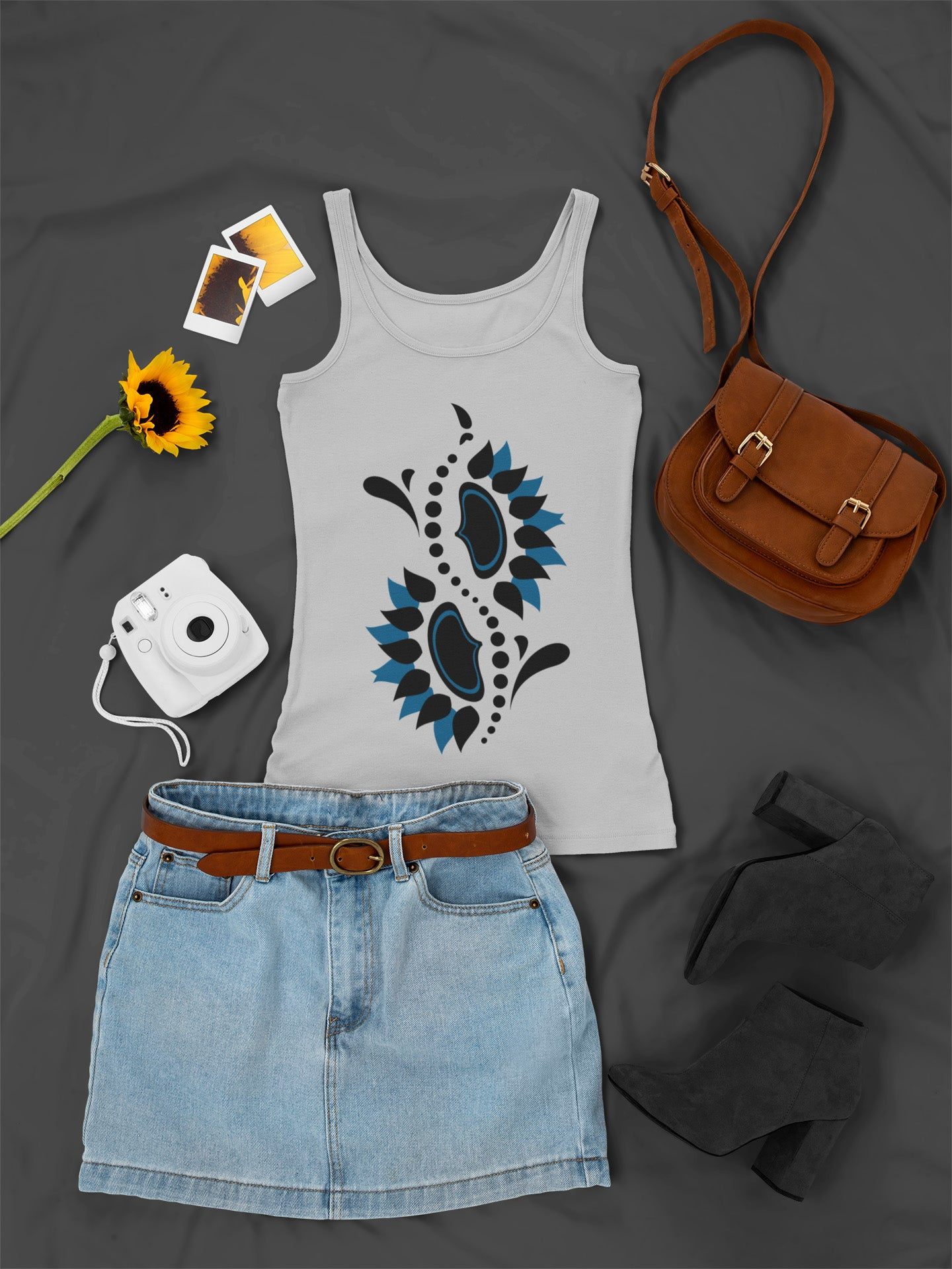Tribal Sunflower Spine - Black & Blue - Ladies Summer Tank Top