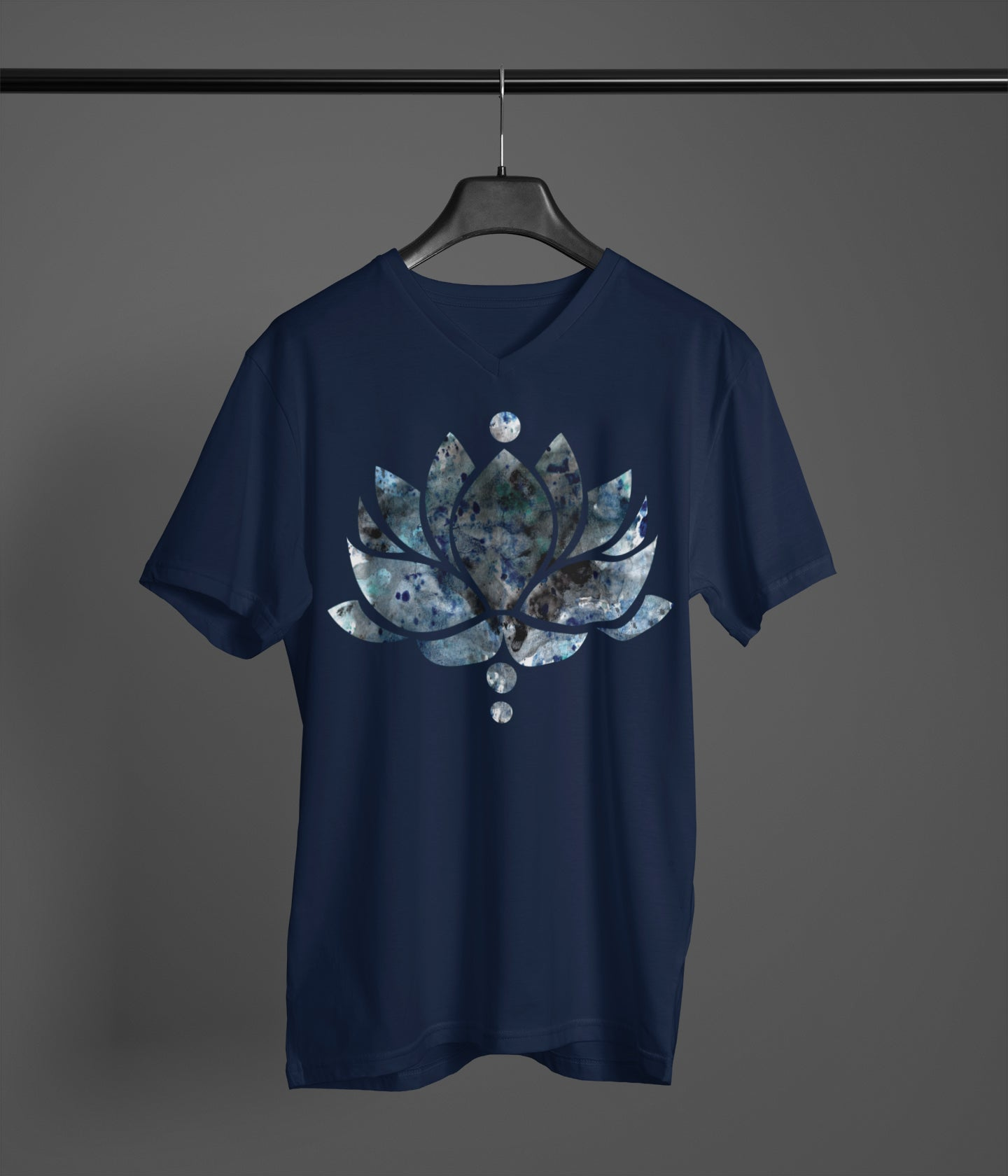 Blue/Black Ink Lotus Flower - Men's V-Neck Tee