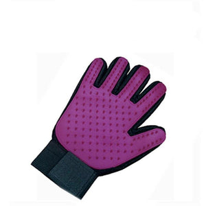 hands on pet grooming gloves for cats in purple color