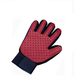 hands on pet grooming gloves for horses in red color