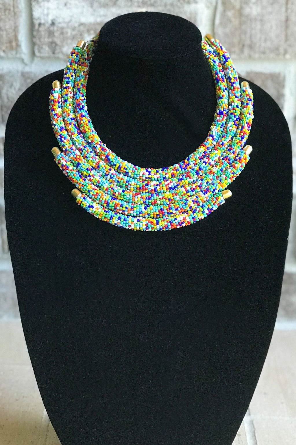 5-Row Multi Color Beaded Maasai Necklace