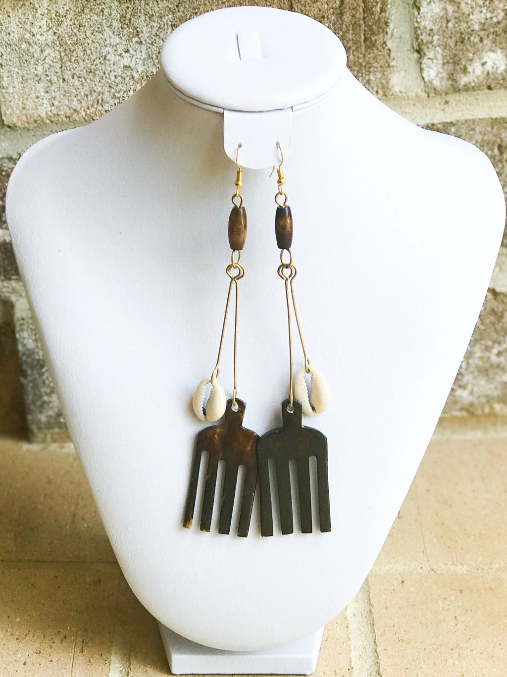 Kenyan Cowrie and Oya Earrings