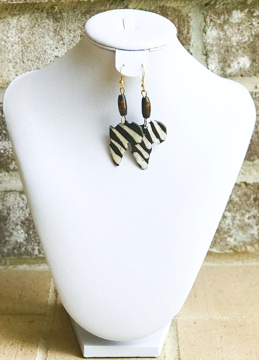 Kenyan Bone and Brass Africa Earrings