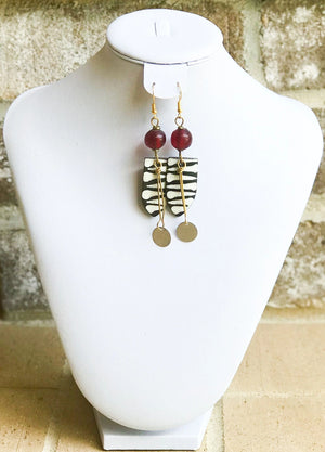 Kenyan Bone and Brass Shield Earrings