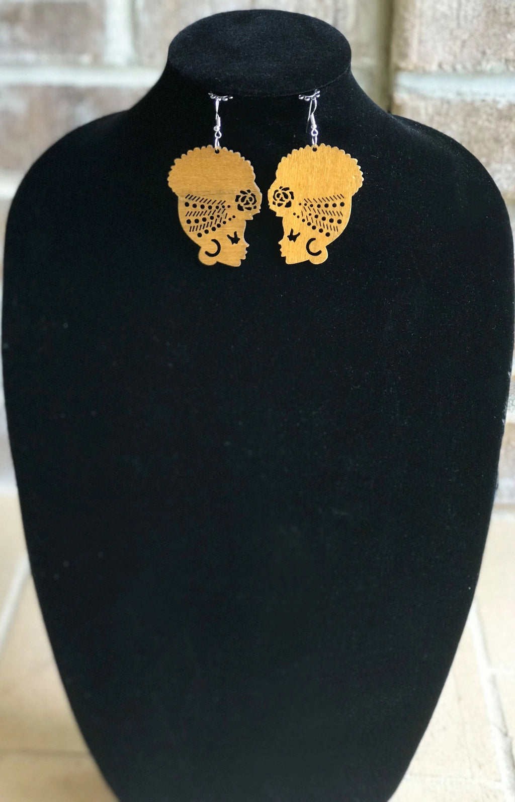 African Turban Shaped Wooden Earrings