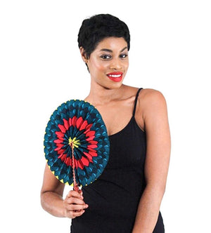 African Print Leather Folding Fans