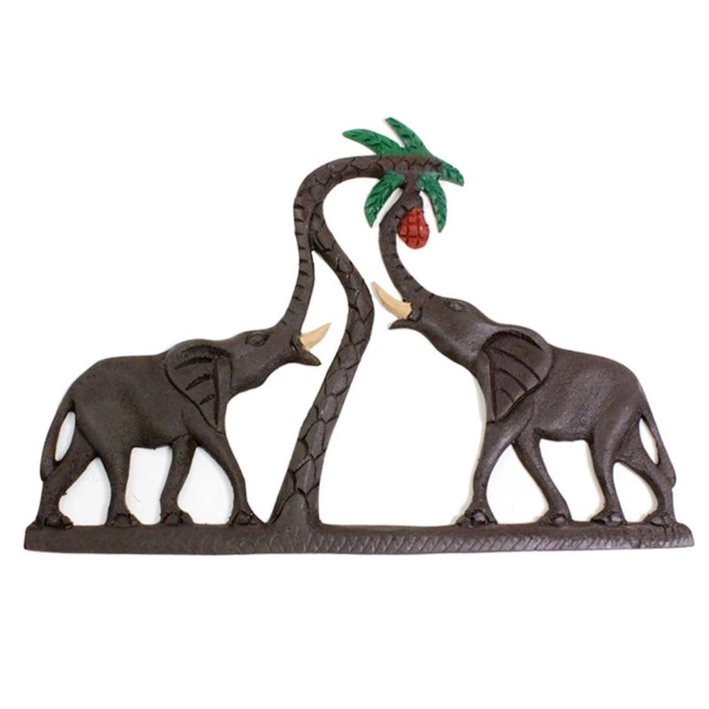 Two Elephants Wood Plaque