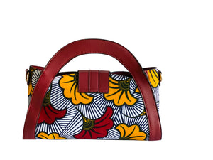 Red & Yellow African Flower Print Handbag
