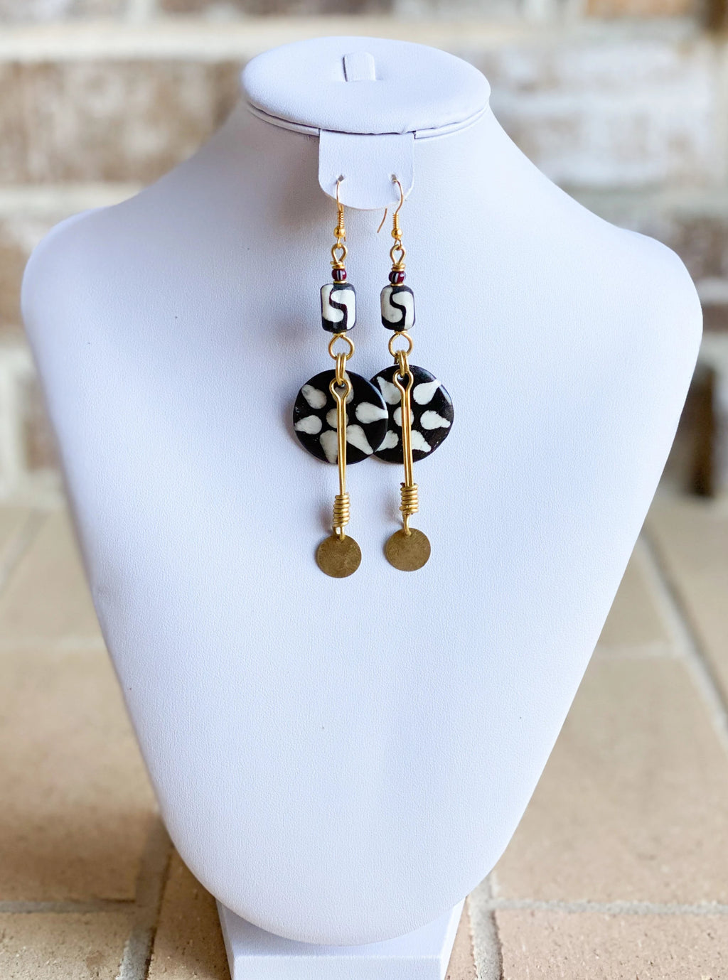 Kenyan Bone and Brass Flower Pattern Earrings