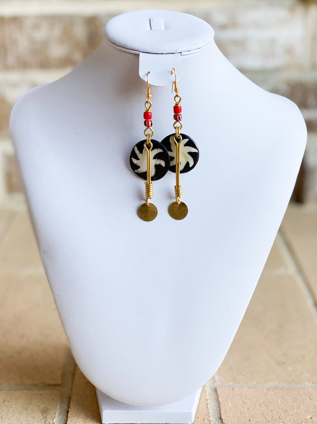 Kenyan Bone and Brass Irawo Earrings
