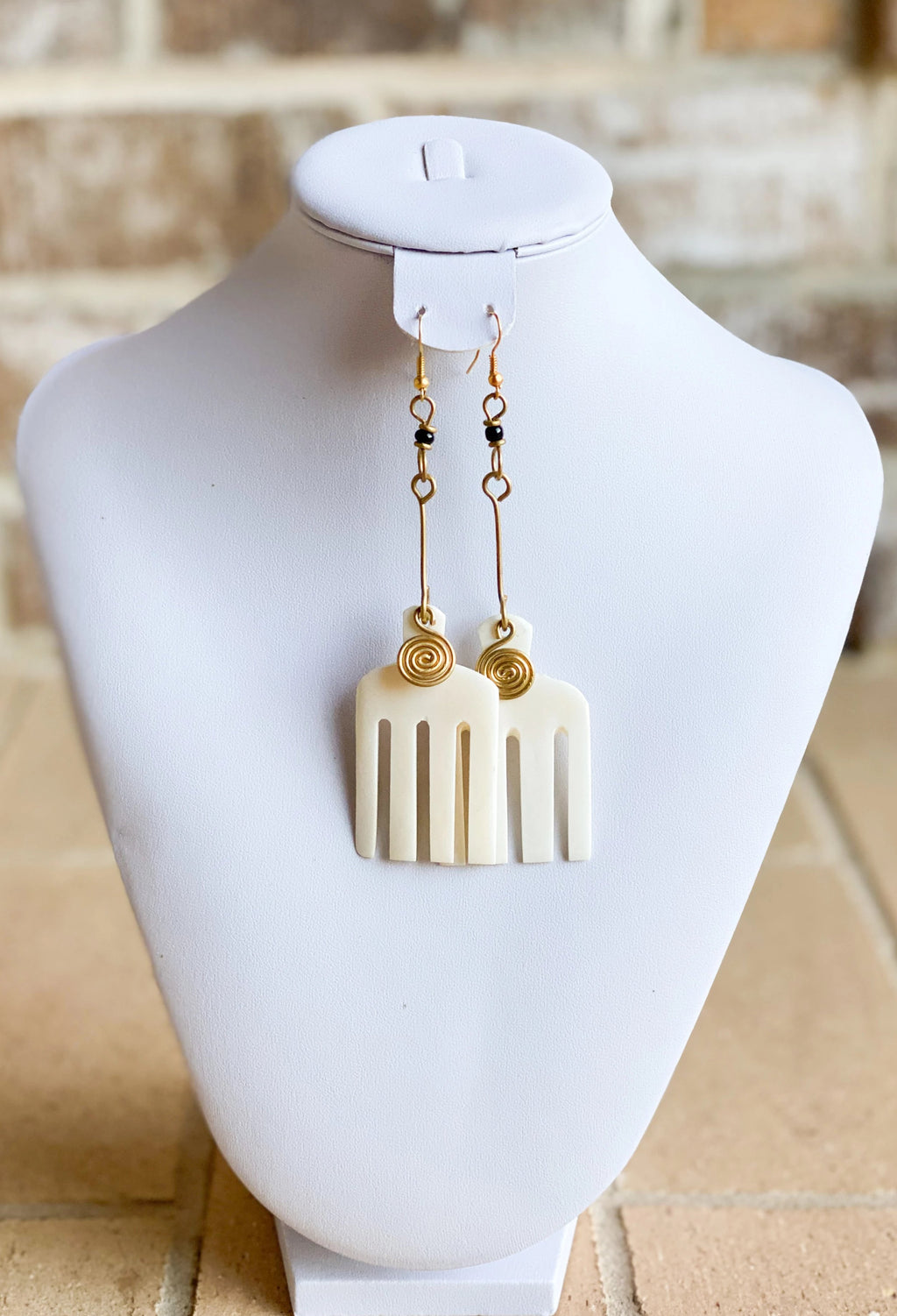 Kenyan Brass and Oya Earrings